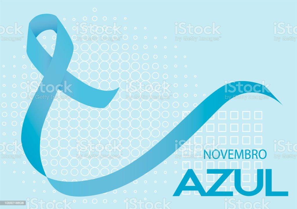 Novembro Azul is blue November in Portuguese. Blue ribbon vector....
