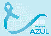 Novembro Azul is blue November in Portuguese. Blue ribbon vector. Prostate cancer awareness month ribbon on geometric background.