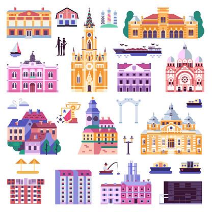 Novi Sad Old Town Icons in Flat