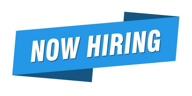 now hiring banner template. now hiring ribbon label sign vector art illustration