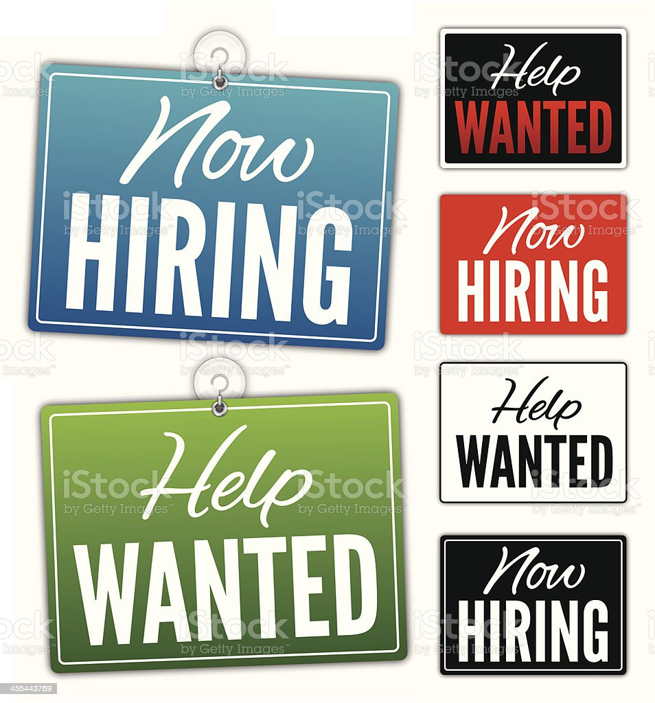Now Hiring Help Wanted Signs vector art illustration