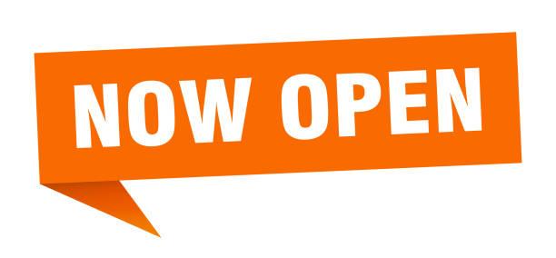 now open banner. now open speech bubble. now open sign vector art illustration