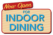 istock Now Open for Indoor Dining signage - Vector Illustration 1272850050