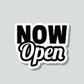 """Icon of """"Now Open"""" on a sticker with a drop shadow isolated on a blank background. Trendy illustration in a flat design style. Vector Illustration (EPS10, well layered and grouped). Easy to edit, manipulate, resize or colorize. Vector and Jpeg file of different sizes."""
