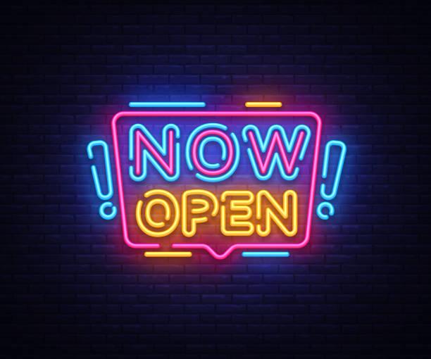 ilustrações de stock, clip art, desenhos animados e ícones de now open neon signs vector. now open design template neon sign, light banner, neon signboard, nightly bright advertising, light inscription. vector illustration - important