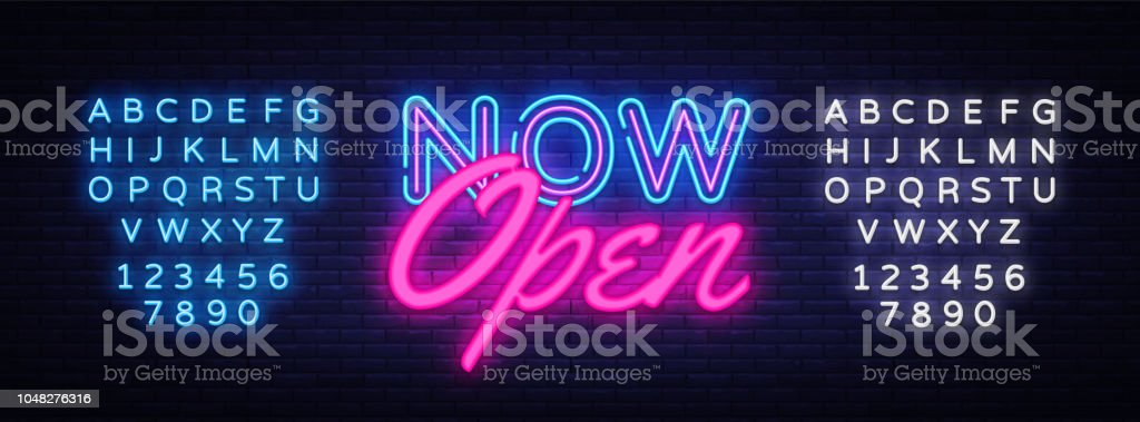 Now Open neon text vector design template. Now Open neon logo, light banner design element colorful modern design trend, night bright advertising, bright sign. Vector. Editing text neon sign royalty-free now open neon text vector design template now open neon logo light banner design element colorful modern design trend night bright advertising bright sign vector editing text neon sign stock illustration - download image now