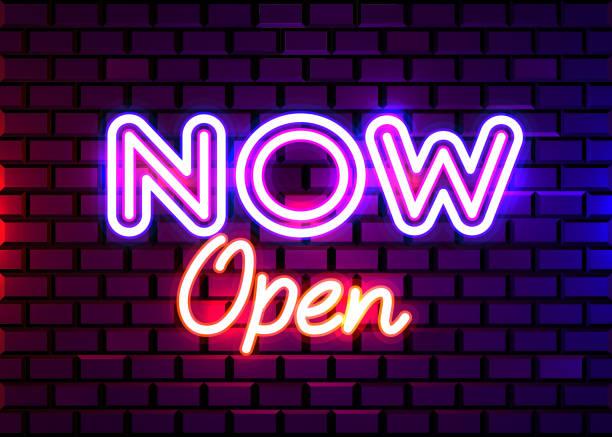ilustrações de stock, clip art, desenhos animados e ícones de now open neon text vector design template. now open neon logo, light banner design element, night bright advertising, bright sign. - important