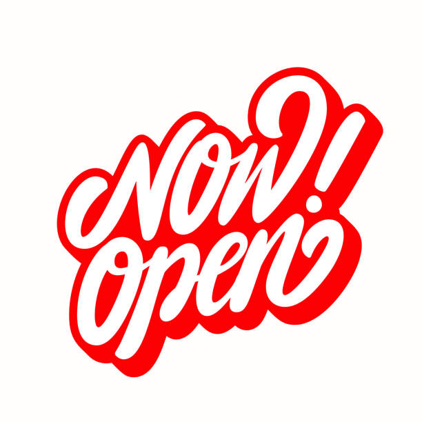 now open sign. - open sign stock illustrations
