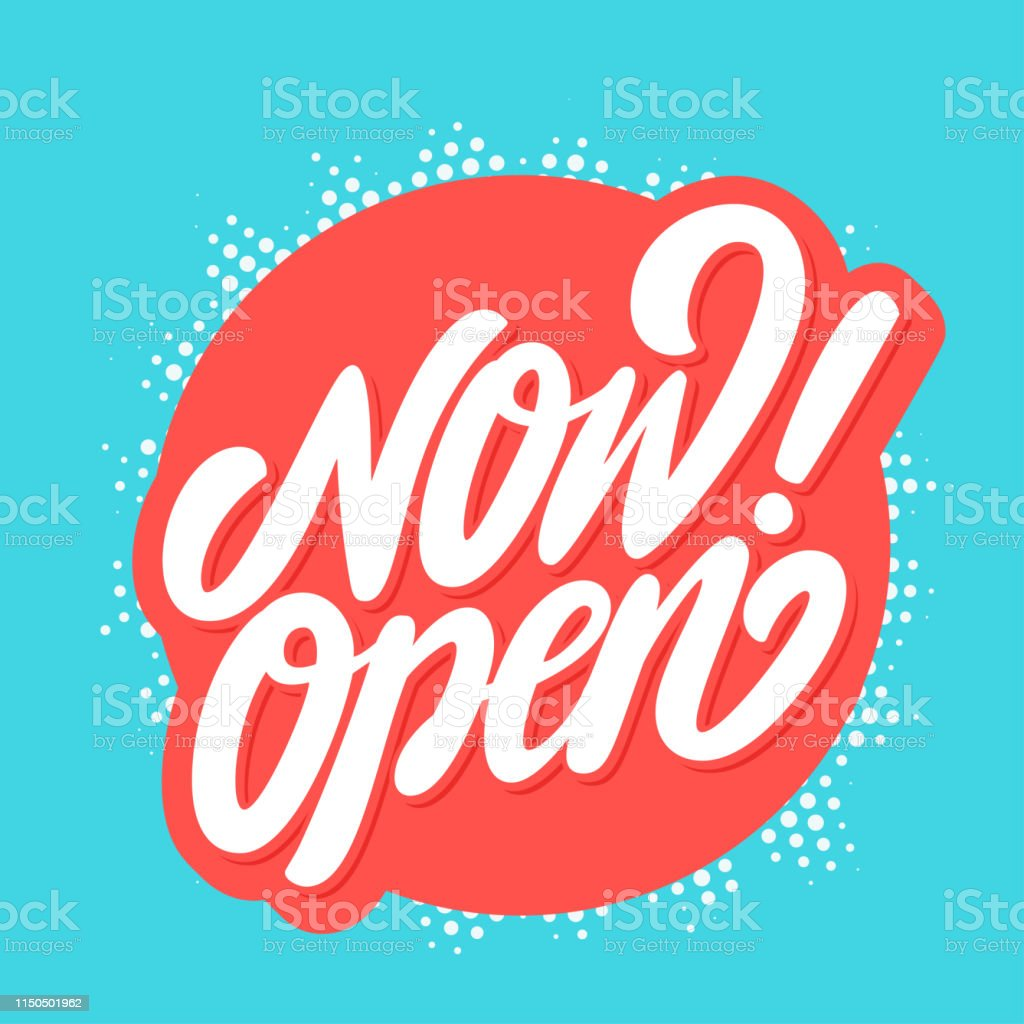 Now open sign. Vector lettering. royalty-free now open sign vector lettering stock illustration - download image now