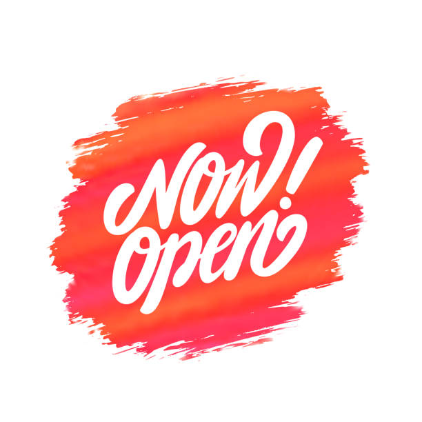 Now open sign. Vector lettering. Now open sign. Vector hand drawn illustration. open sign stock illustrations
