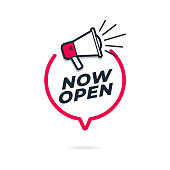 Now open sign with chat bubble and megaphone.