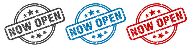 now open stamp. now open round isolated sign. now open label set now open stamp. now open round isolated sign. now open label set fully unbuttoned stock illustrations