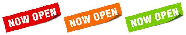 now open sticker. now open square isolated sign. now open label vector art illustration