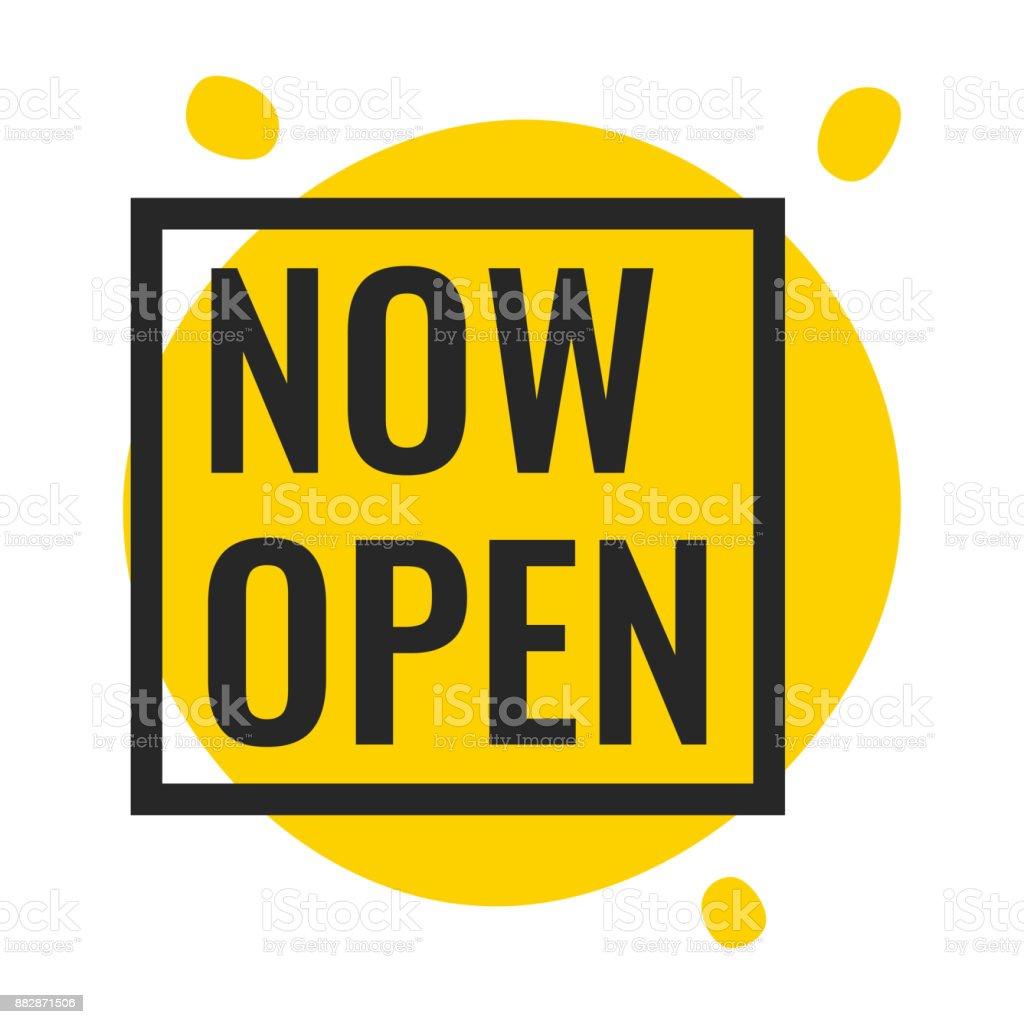 Now open. Vector illustration on white background. vector art illustration