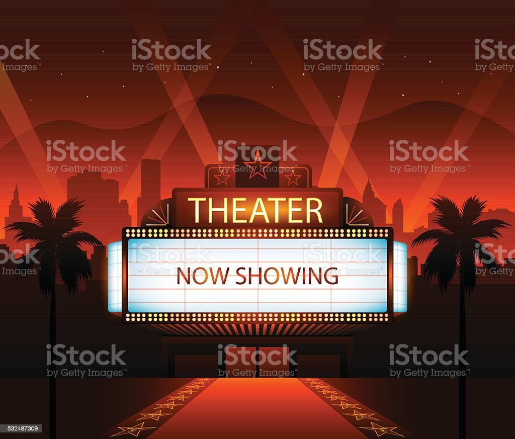 Now showing theater movie banner sign vector art illustration
