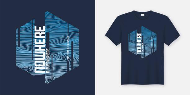 ilustraciones, imágenes clip art, dibujos animados e iconos de stock de en ninguna parte y en todas partes resumen moda vector camiseta y ropa de diseño, tipografía, impresión, cartel. - moda playera