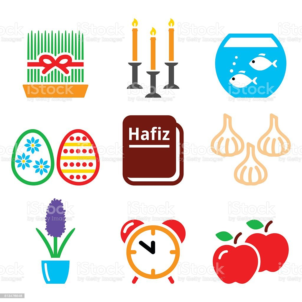 Nowruz Persian New Year Icons Set 21 March Stock Vector Art More