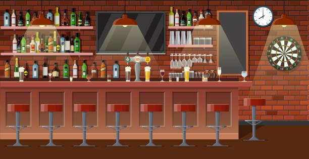 stockillustraties, clipart, cartoons en iconen met nterior café, café of bar. - bar tapkast