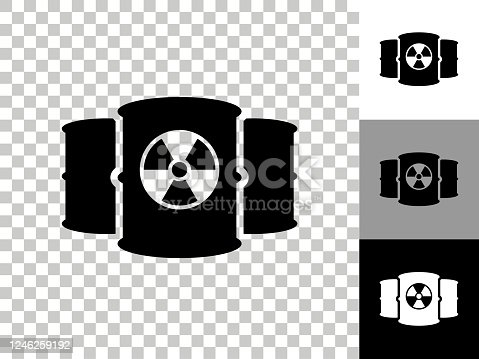Nuclear Barrels Icon on Checkerboard Transparent Background. This 100% royalty free vector illustration is featuring the icon on a checkerboard pattern transparent background. There are 3 additional color variations on the right..