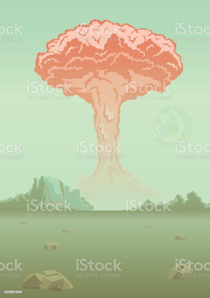 Nuclear bomb explosion in the desert. Mushroom cloud. Vector illustration.