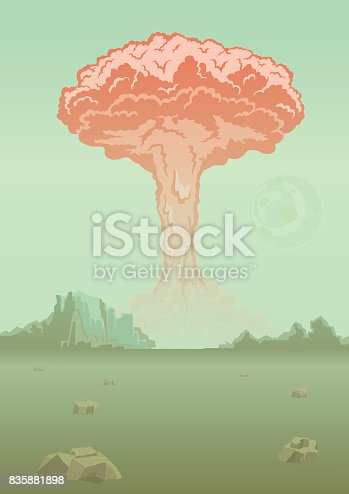 Nuclear bomb explosion in the desert. Mushroom cloud. Rocky mountain landscape. Vector illustration.