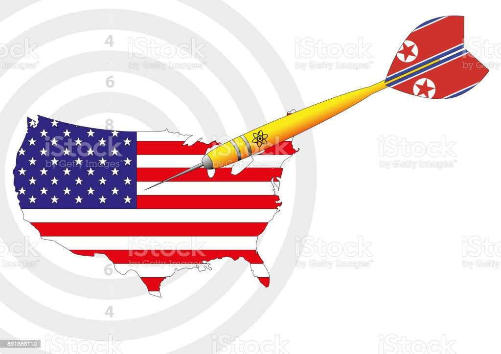 nuclear dart usa north korea vector vector art illustration