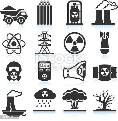 Nuclear Energy Industry and Disaster black & white set
