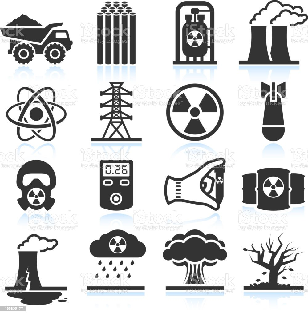 Nuclear Energy Industry and Disaster black & white icon set vector art illustration