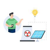 Editable flat design of nuclear energy illustration