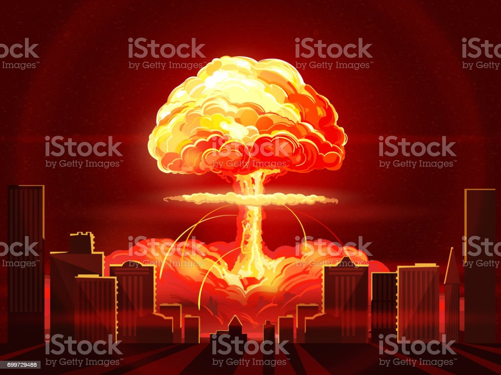 Nuclear explosion. Atomic bomb in the city. Symbol of nuclear war, end of  world,  dangers of nuclear energy vector art illustration