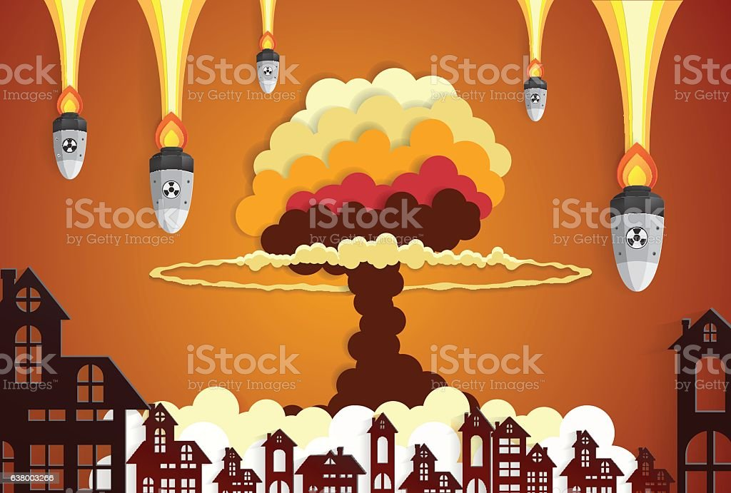 Nuclear explosion cloud cap in city center vector art illustration