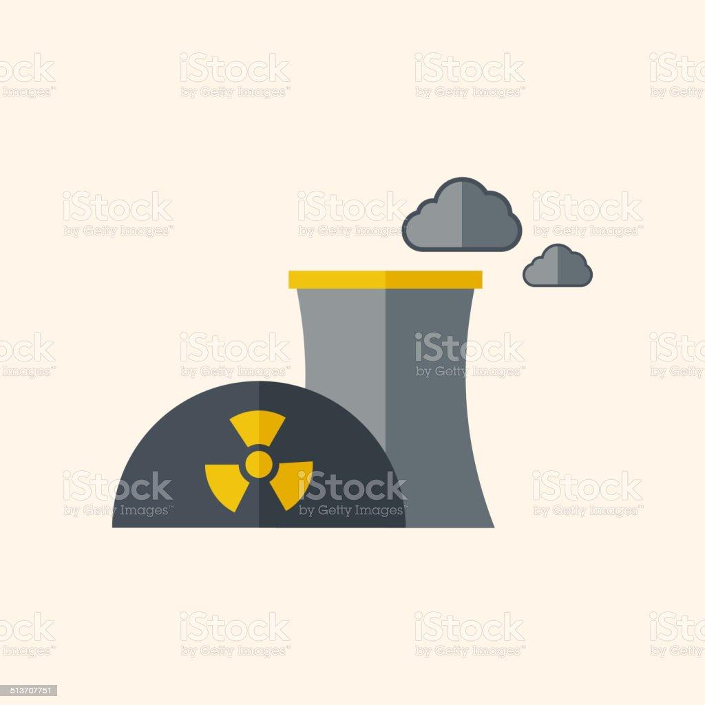 Nuclear Flat Icon vector art illustration