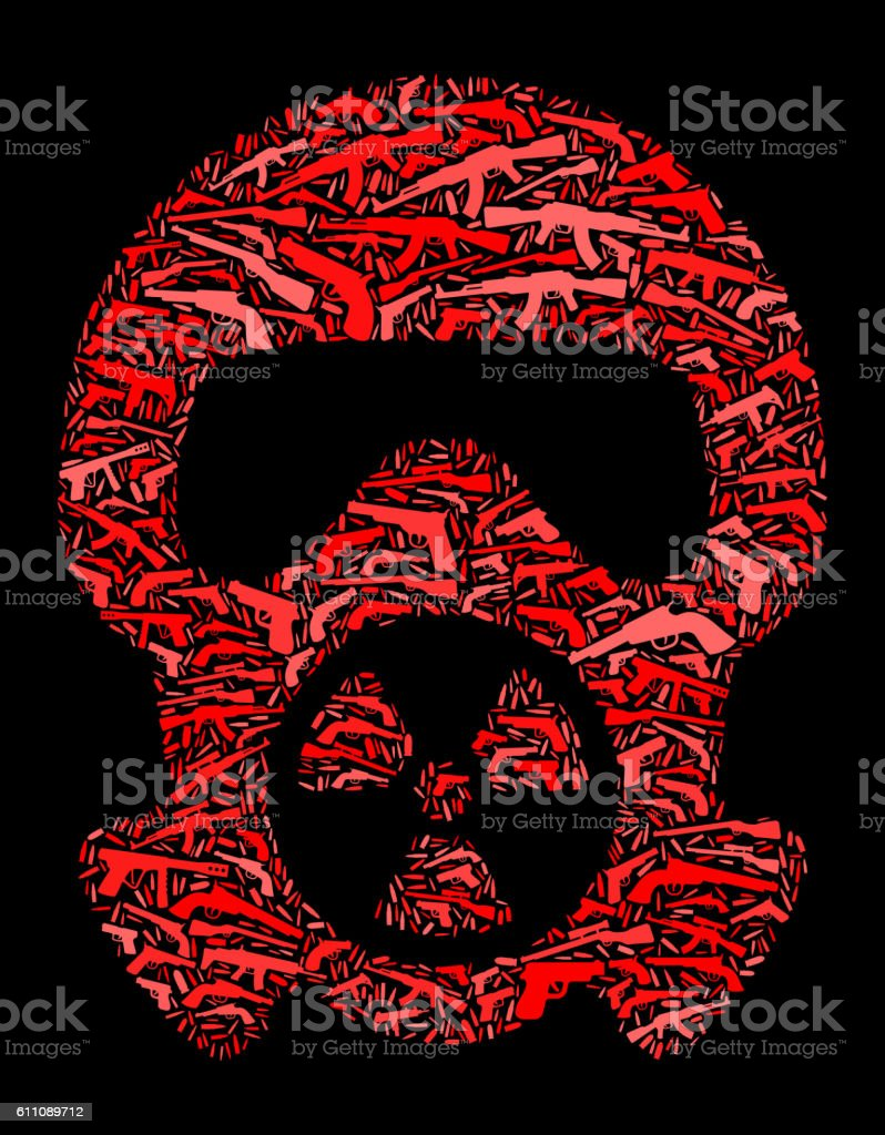 Nuclear Gas Mask Gun Icon Pattern Background vector art illustration
