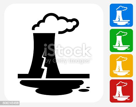 Nuclear Leak Icon. This 100% royalty free vector illustration features the main icon pictured in black inside a white square. The alternative color options in blue, green, yellow and red are on the right of the icon and are arranged in a vertical column.