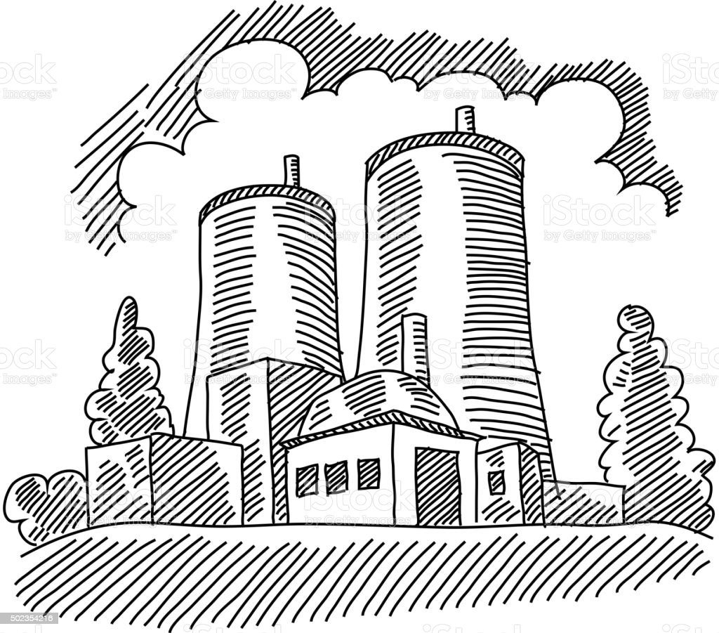 Nuclear Plant Drawing vector art illustration