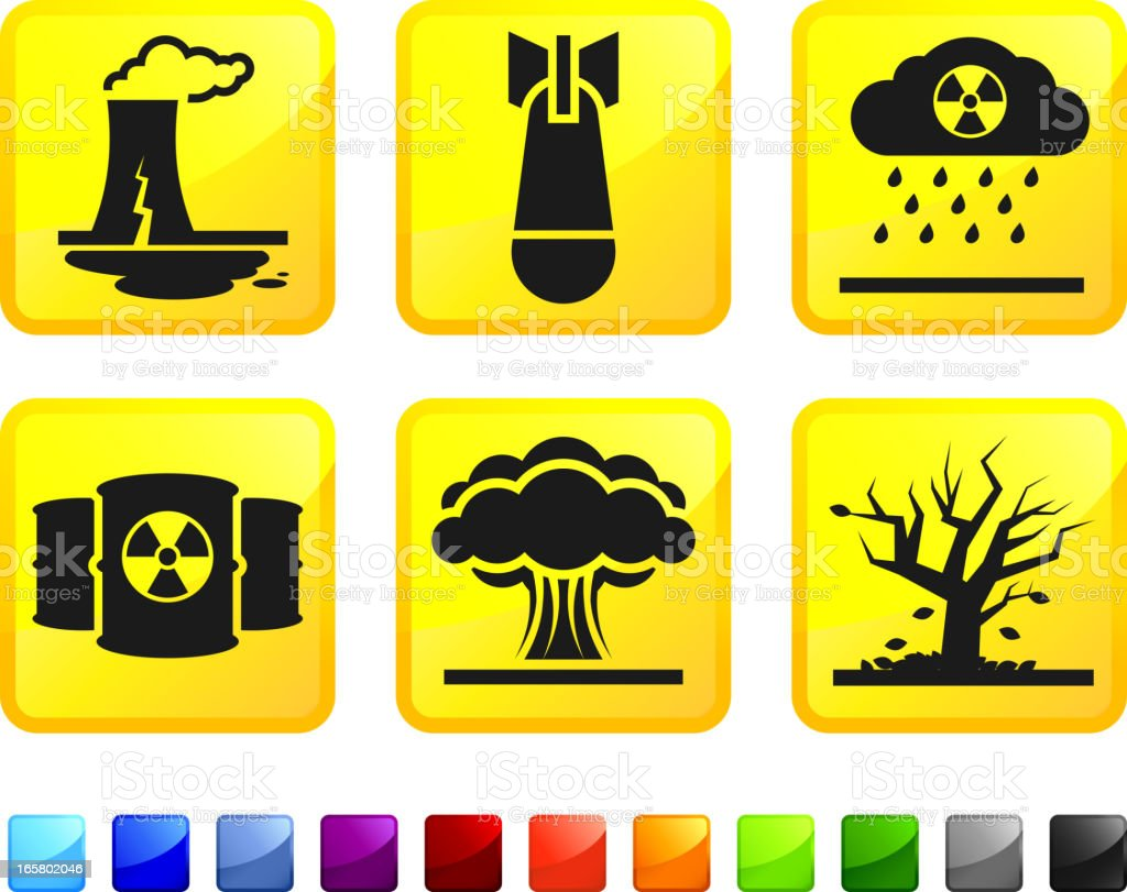 Nuclear Plant Leak and Explosion Disaster vector icon set stickers