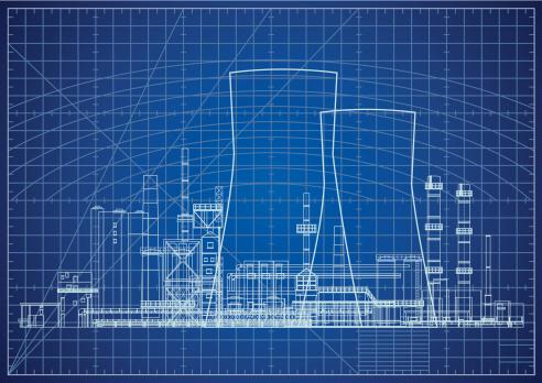 Nuclear power plant blueprint vector illustration