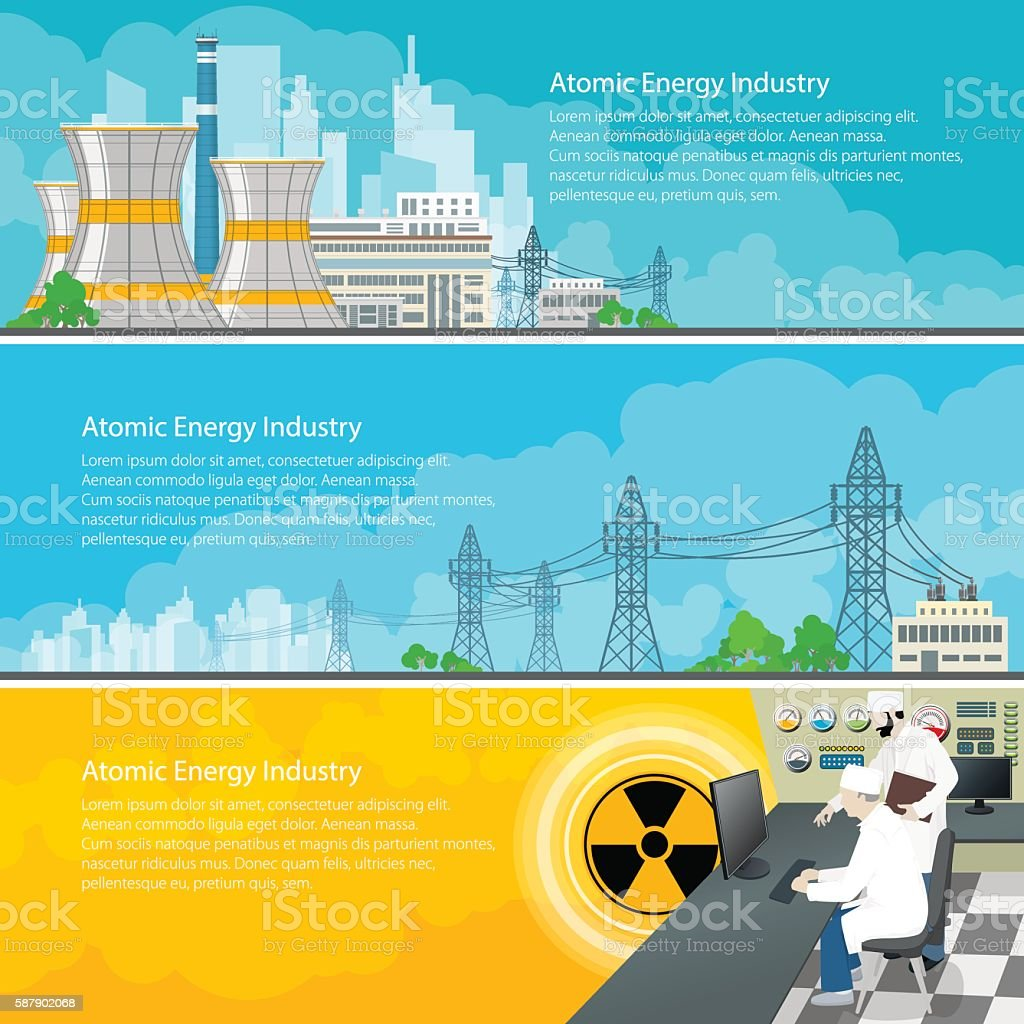 Nuclear Power Plant Horizontal Banners with Text vector art illustration