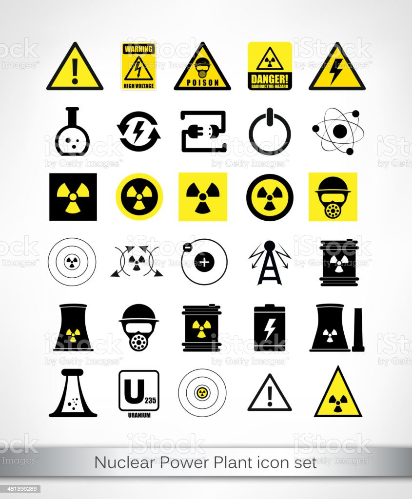Nuclear Power Plant icon set vector art illustration