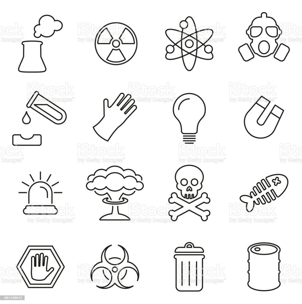 Nuclear Power Plant Icons Thin Line Vector Illustration Set vector art illustration
