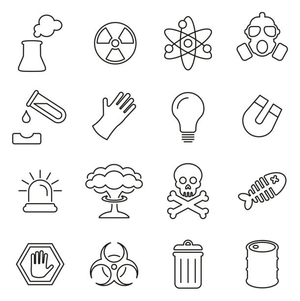 Nuclear Power Plant Icons Thin Line Vector Illustration Set This image is a vector illustration and can be scaled to any size without loss of resolution. biohazard symbol stock illustrations