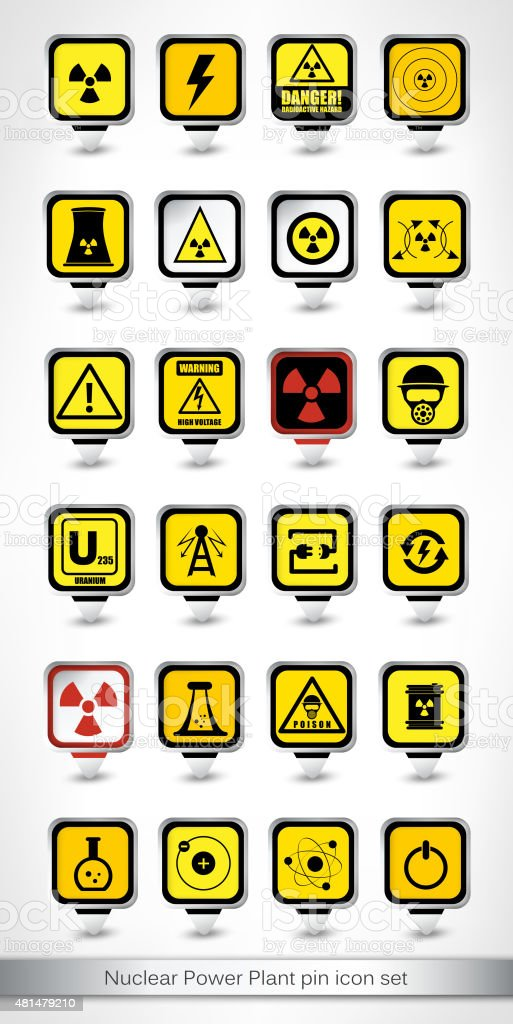 Nuclear Power Plant pin icon set vector art illustration