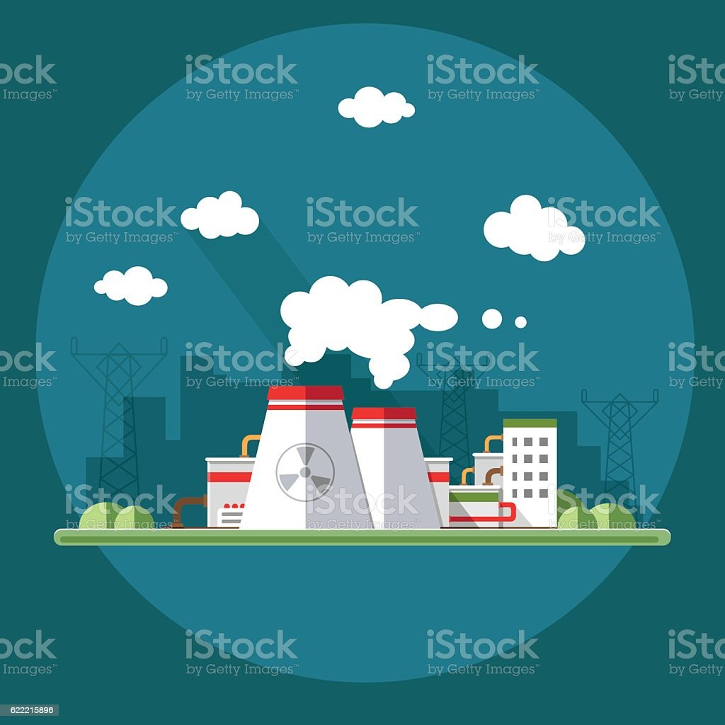 nuclear power plant. Set of elements for construction of urban vector art illustration