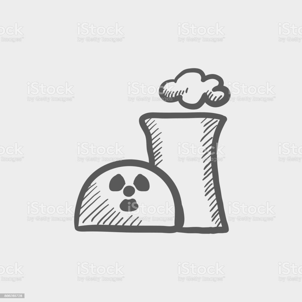 Ilustración De Icono De Energía Nuclear Planta Dibujo Mano Doodle