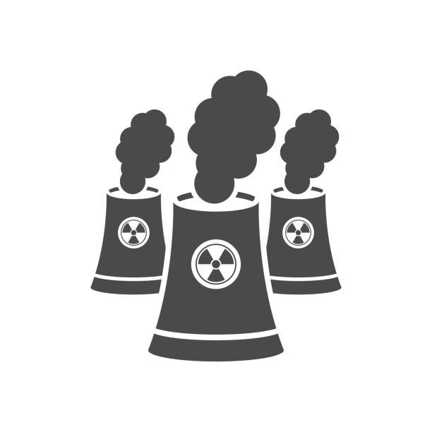 Nuclear power plant towers icon.Vector illustration. Nuclear power plant towers icon.Vector illustration. lead poisoning stock illustrations