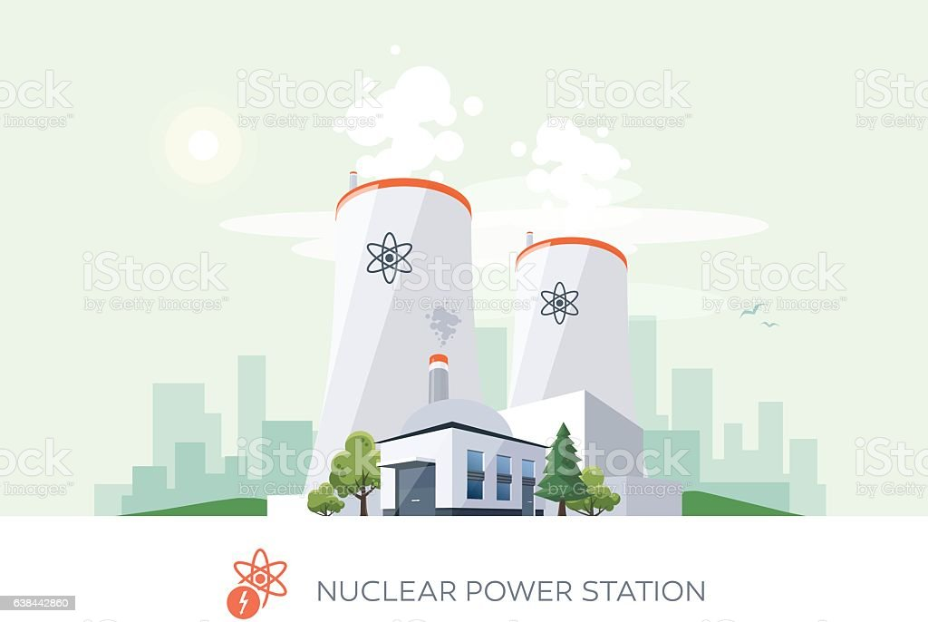 Nuclear Power Plant vector art illustration