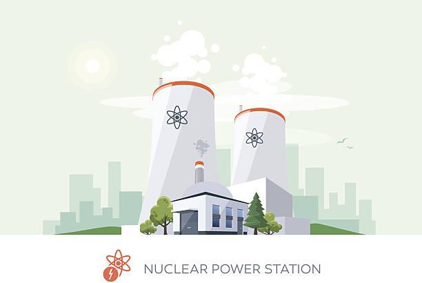illustrazioni stock, clip art, cartoni animati e icone di tendenza di centrale nucleare - reattore nucleare