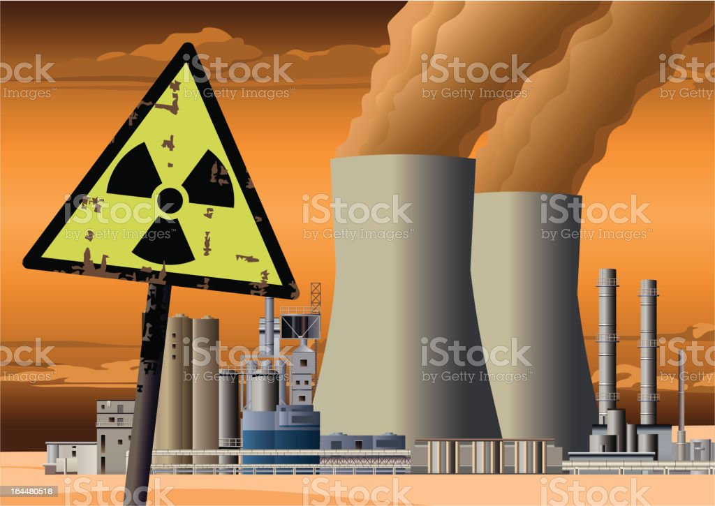 Nuclear Power Station and Radioactive Sign royalty-free stock vector art