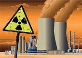 Nuclear Power Plant. Radioactive Air and Water Pollution.
