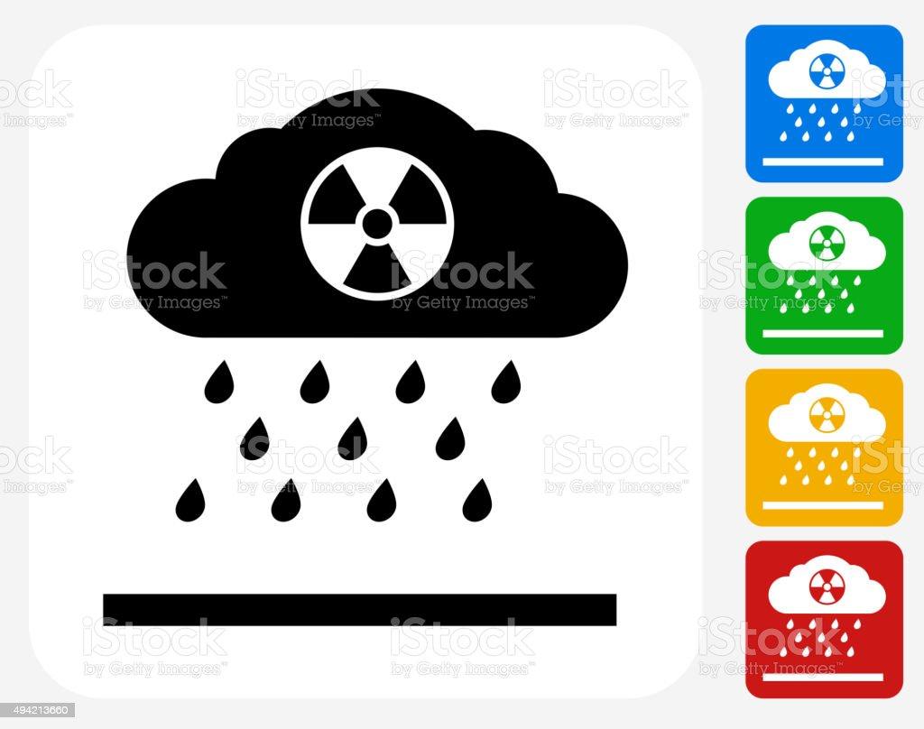 Nuclear Rain Icon Flat Graphic Design vector art illustration